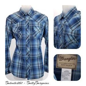 Wrangler L Indigo Blue Plaid Pearl Snap L/S